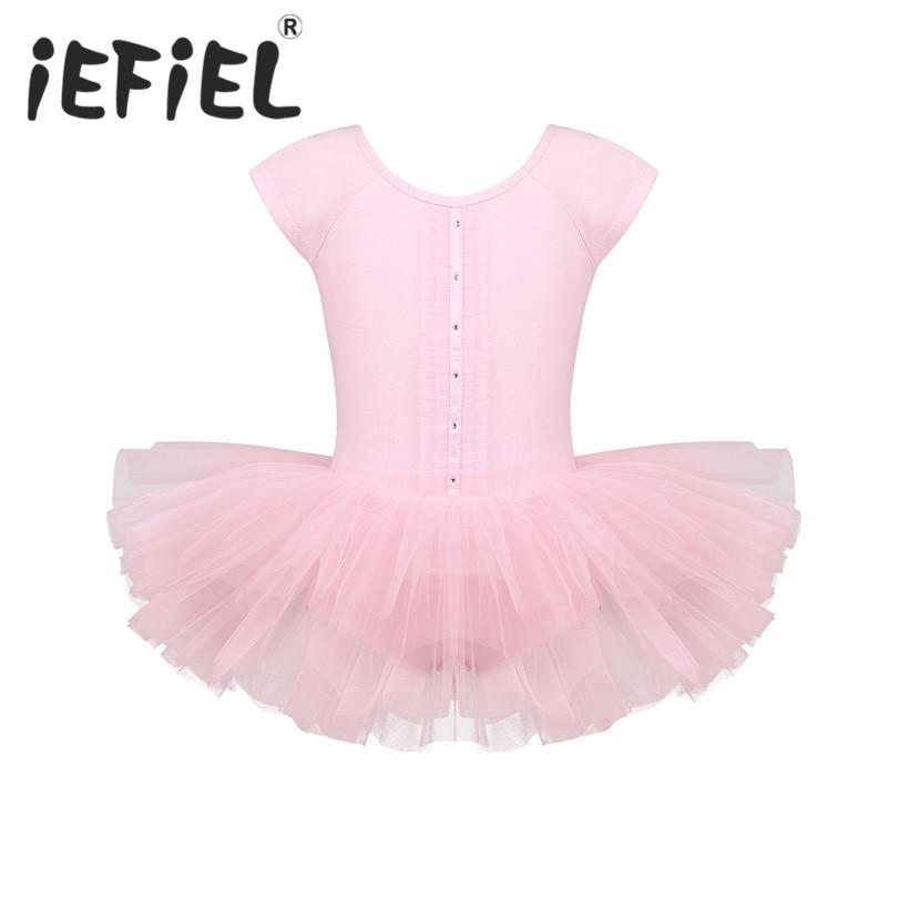 Cute Kid Little Girls Cap Sleeves Cutout Back Ballet Dance Gymnastics Leotard Tutu Dress for Ballet Class Dancewear Perfoormance