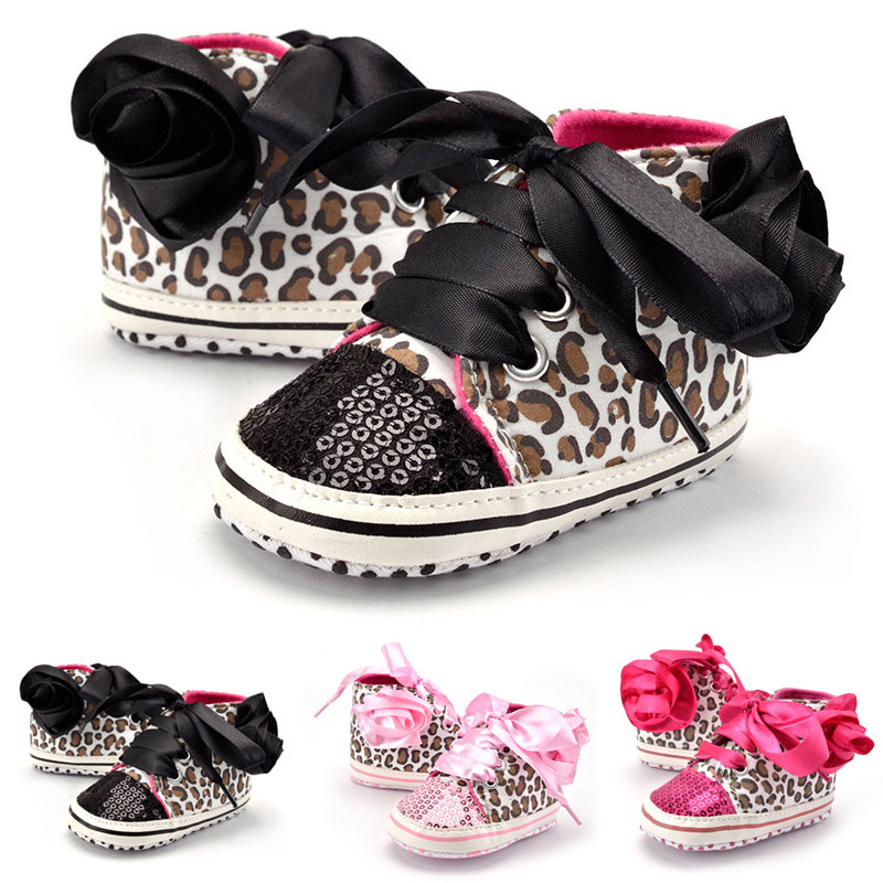 Hot Sell 0-12M Baby Prewalker Newborn Girl Leopard Printed Sequin Sneaker Toddler Kids Non-Slip Lace Up Walking Shoes @