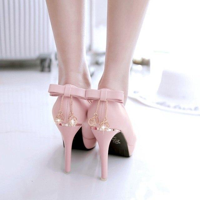 sweet pink rhinestone bow pointed stiletto heels female round head 10cm heel high waterproof platform princess shoes