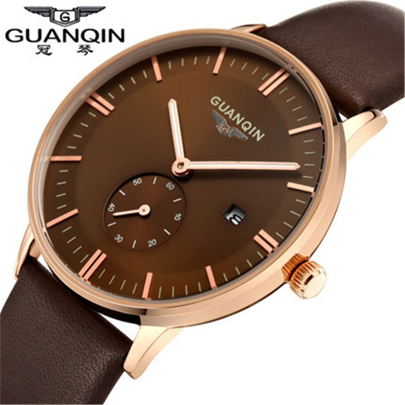 ФОТО 100% Original GUANQIN Mens Watches Top Brand Luxury Fashion Casual Waterproof Leather Watchband Quartz-Watch Relogio Masculino