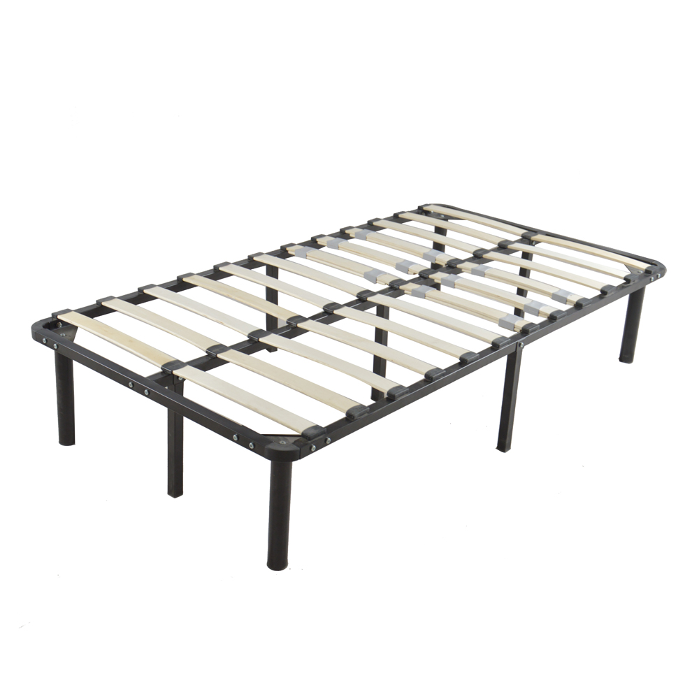 Wooden Bed Slat and Metal Iron Stand Twin Size Iron Bed Black Dropshipping