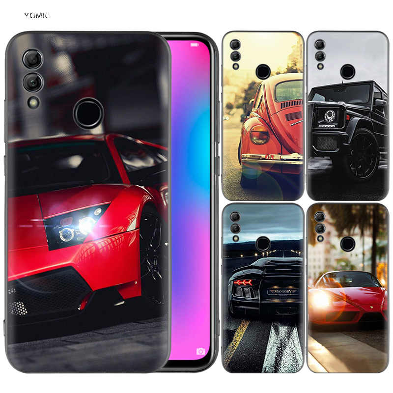 Silicone Cover Case for Huawei Honor 10 9 Lite 8X 8C 8A Y6 Y7 Y9 7A Pro Prime 7C 2018 2019 V20 Dark Shiny Cars Sports Rod