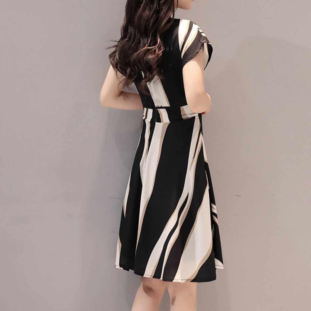 2019 Fashion Women Business Dress Belt O-Neck Short Sleeve Knee Length women summer dress party sexy beach dress hot sale