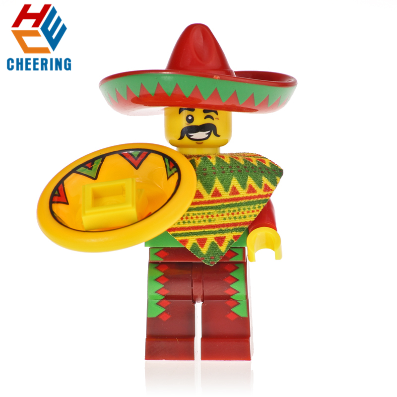 KF723 Single Sale Mexican Independence Day Figures Mexican Guy Charro Model Collection Building Blocks For Children Gift Toy