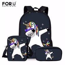 FORUDESIGNS 3pcs/set Unicorn School Bag Set for Kids Boys Gi