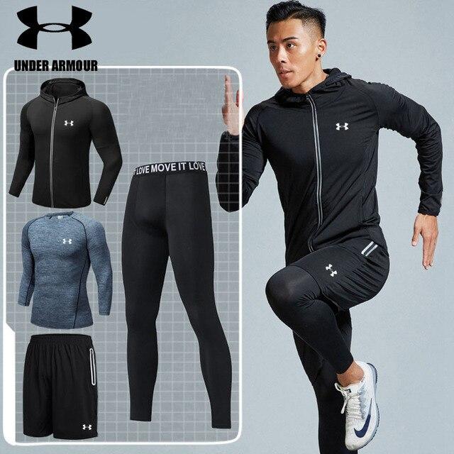 Under Armour Pria Gym Pakaian Hiking Pelatihan Pakaian Olahraga 2-5 Pieces Cepat Kering Olahraga Jaket Berkualitas Tinggi