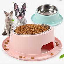 New Feeding Drinking 2 In 1 Bowl Hat Shaped Tilted Brim Leakproof Pet Bowl Stainless Steel Pet Bowl Easy To Holding Fashion