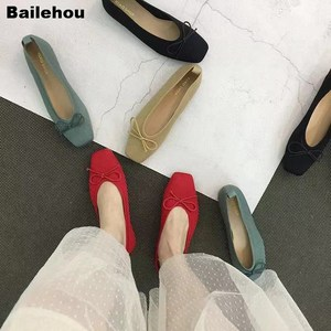 Image 4 - Women Flats Ballet Shoes Breathable Knitted Square Toe Moccasin Mixed Color Flat Ballerina Shallow Butterfly knot Colorful Shoes