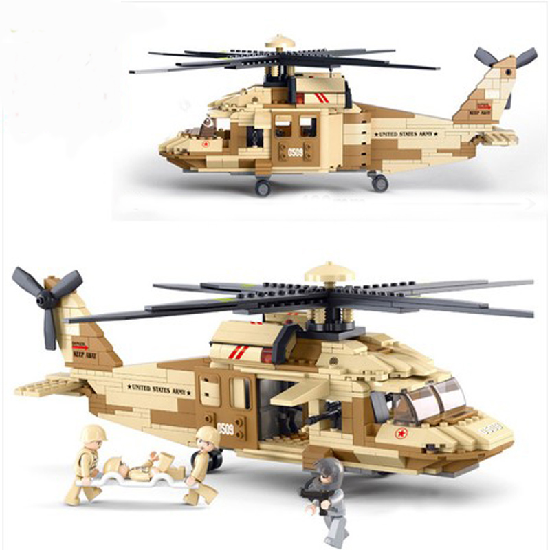 2016 New Sluban Military Black Hawk Helicopter Building Blocks Set Airplane Model Bricks Toy Compatible With Military Planes