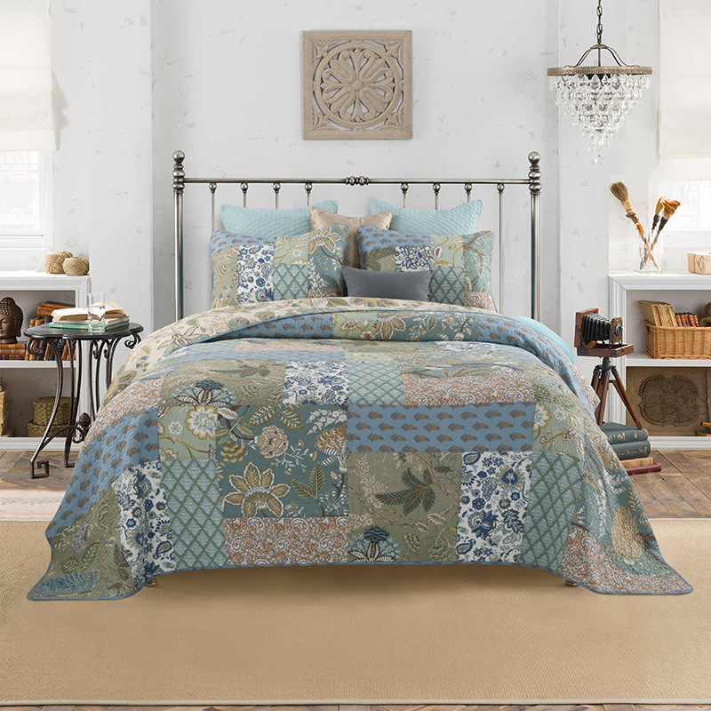 Shabby Chic Floral 3 Pieces Patchwork Bedspread Pillow shams Sumer Quilts Set Queen King size 100