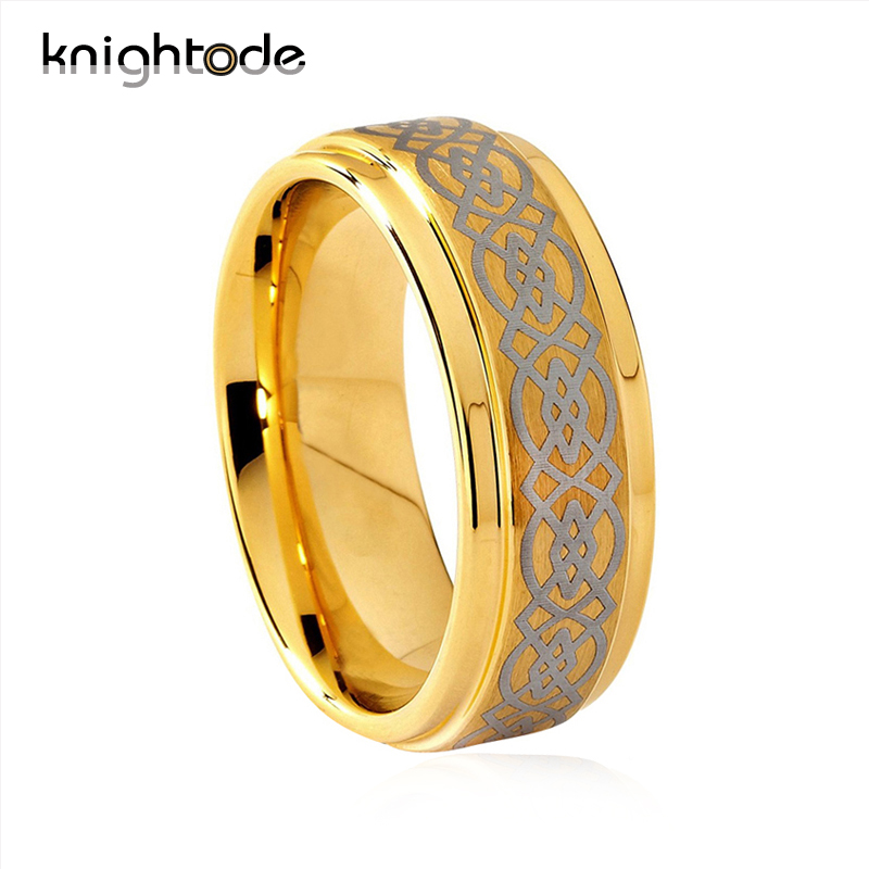 Knightode Tungsten Wedding Ring Laser Engraved Men Women Fashion Jewelry Finger Rings Beveled Good Color Tungsten Carbide