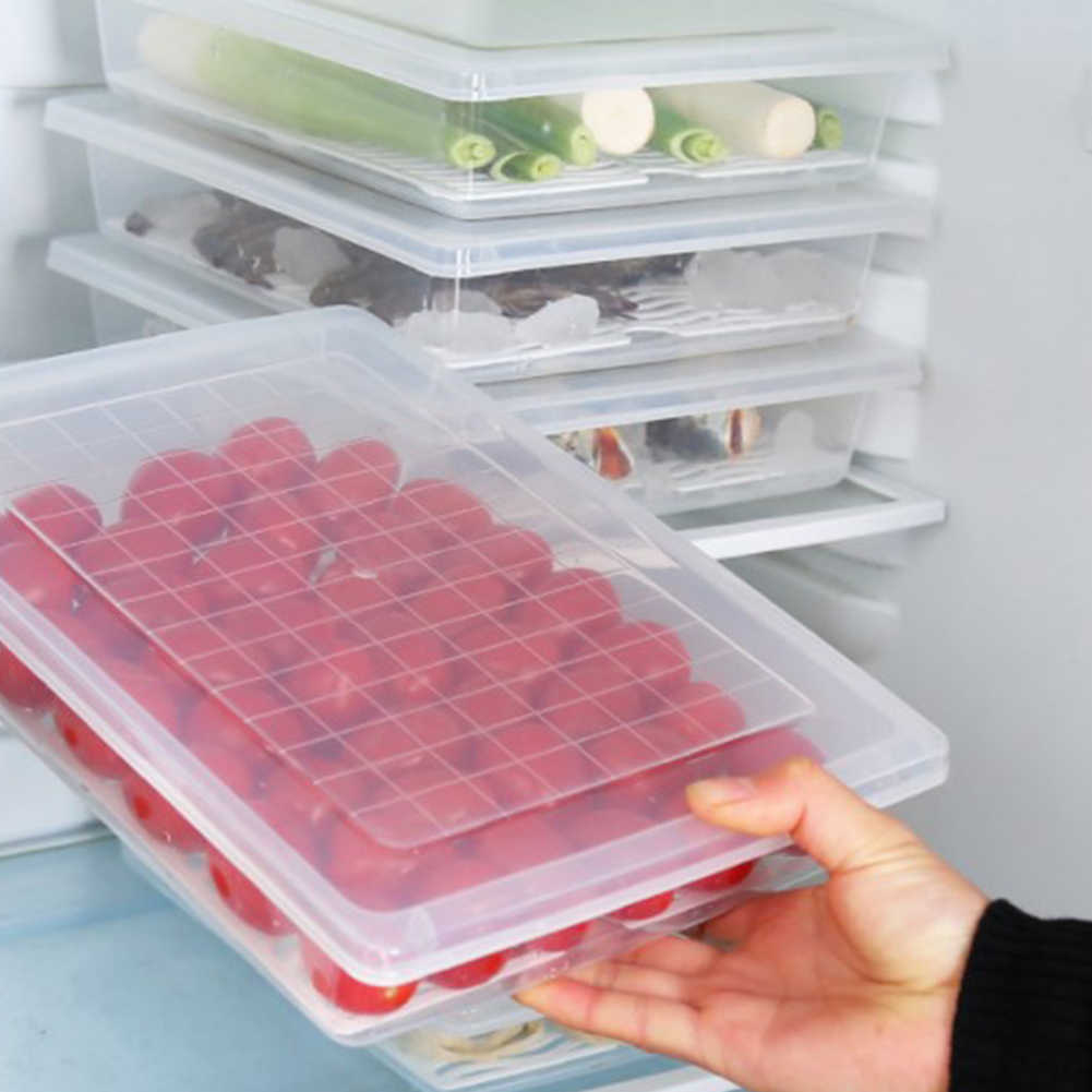 Vegetable Fish Meat Storage Box Accessories Lid Fruit Transparent Food Container Kitchen Removable With Drain Plate
