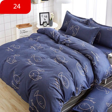 4 Pcs/Set Classic Bedding Set sizes Grey Blue Flower Bed Linen Duvet Cover Pastoral Sheet AB Side 2019