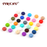 100pc Abacus Beads Silicone Beads DIY Teething Necklace Safe Rubber Teethers BPA FREE Loose Saucer Beads For Mom Jewelrys Making