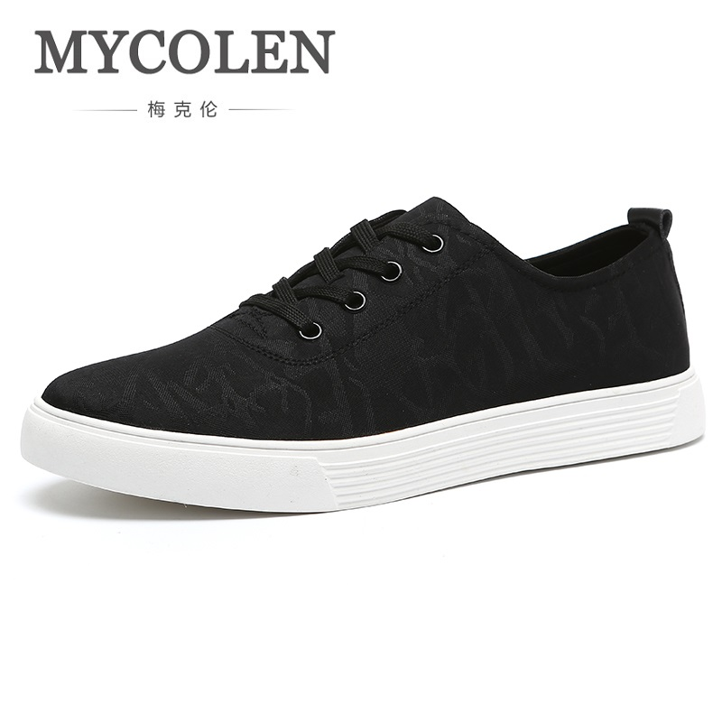 MYCOLEN Genuine Men Shoes Lace-Up Casual Shoes Fashion Loafers Breathable Trend Canvas Flats Shoes Sapato Social Masculino mycolen fashion brand men shoes winter handsome business casual shoes breathable men s leather shoes man derby sapato social