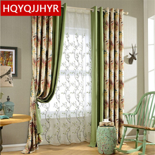 European Upscale stitch printing Blackout curtains for the living room Modern minimalist Cotton linen bedroom