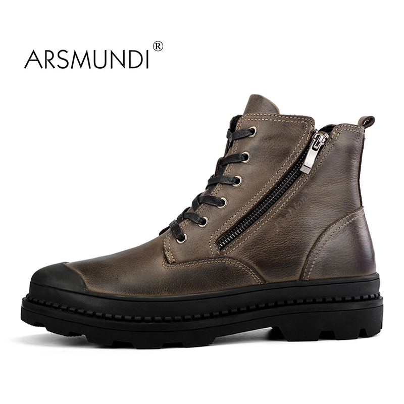ARSMUNDI Men Fashion Boots BLM-9550 Round Toe Boots Men Casual Shoes Fall Winter 2017 Plush Warm Shoes New Men Boots Hot Sell plush casual suede shoes boots mens flat with winter comfortable warm men travel shoes patchwork male zapatos hombre sg083
