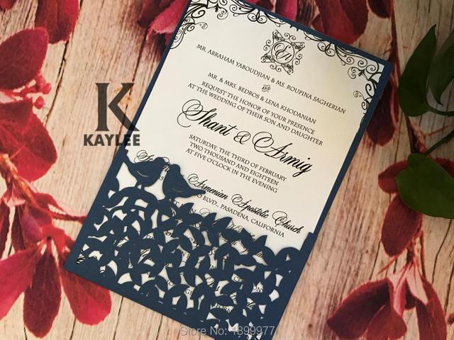 Love Bird Pocket Design Baby Shower Invitation Card,50pcs Laser Cut Wedding Invitation,Paper