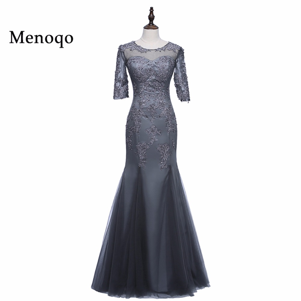 Mother Of The Bride Dresses Mermaid Scoop Half Sleeves Appliques Long Brides Mother Dresses For Weddings Plus Size