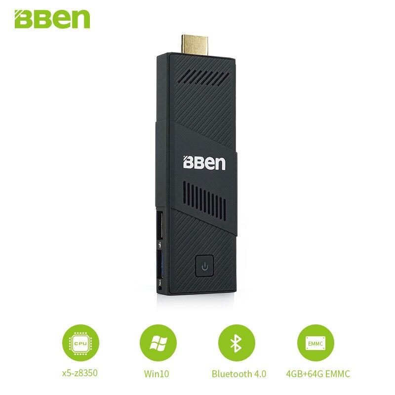 1piece Bben fan intel mini pc windows 10 ,4GB RAM+64GB emmc mini pc Computer pc stick media player USB3.0 wifi bt4.0 in stock