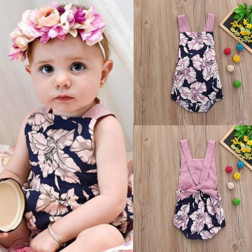 Toddler Baby Girls Flowers Floral Print Vest Sleeveless Backless Romper Jumpsuit 0403