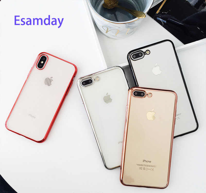 Luxe Soft TPU Gevallen Voor iPhone 11 Pro XR 8 8Plus 7 7Plus 6 6s Plus Transparante plating Shining case Voor iPhone X XS MAX Case