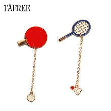 TAFREE Sports Lapel Pins -pong,Badminton Brooch with balls Hard Enamel Badge For Hat Bag Jeans Shirt Jewelry LP358(China)