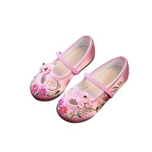 Kids Casual Cloth Shoes Sneakers for Toddler Girls Boys with Handmade Floral Embroidery BM88