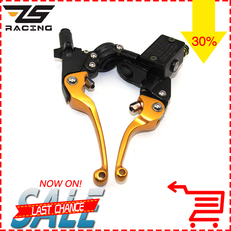ZS Racing ASV 22mm CNC Folding Brake Lever Clutch Lever With Front Pump Fit Most Motorcycle Dirt Pit Bike Motorcross CRF KLX YZF asv clutch and brake folding lever for dirt bike pit bike off road motorcycle motocross spare parts