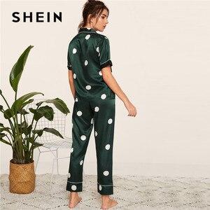 Image 5 - SHEIN In Satin Xuân Hè Bộ Đồ Ngủ Nữ Quần Áo 2019 Nữ Tay Ngắn Quần Dài Đồ Ngủ Áo Bỏ Túi Nữ Pyjama Set