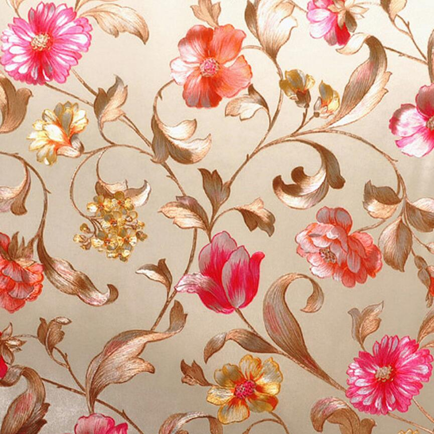 Rustic country style gold foil sliver foil embossed flower wallpaper wedding room wallpaper european country rustic contracted