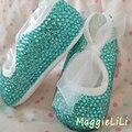Envío libre Lago azul zapatos hechos a mano Bling Bling rhinestone cristalino Encantador del Bebé de la Muchacha niño niños Primeros zapatos del grano suave