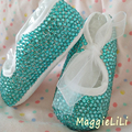 free shipping Lake blue rhinestone Lovely crystal Baby Girl's shoes handmade Bling Bling child kids First bead soft shoes