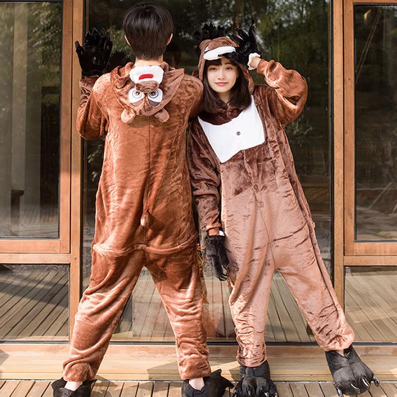 Brown Bear Cosplay Costume Adult Unisex Hooded Flannel Pajamas Cute Animal Cartoon Costume For Halloween Christmas
