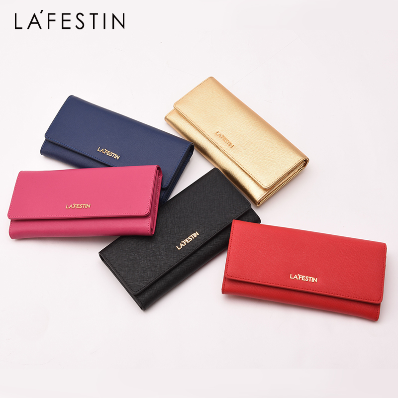 LAFESTIN Women Wallet Genuine Leather Long Card Holder Purse Luxury Brand Wallet Solid Leather Ladies Coin Carteira