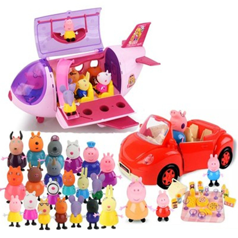 Peppa Pig Doll Aircraft Sports Car Original Family Roles Action Figure Model Children Christmas Gifts