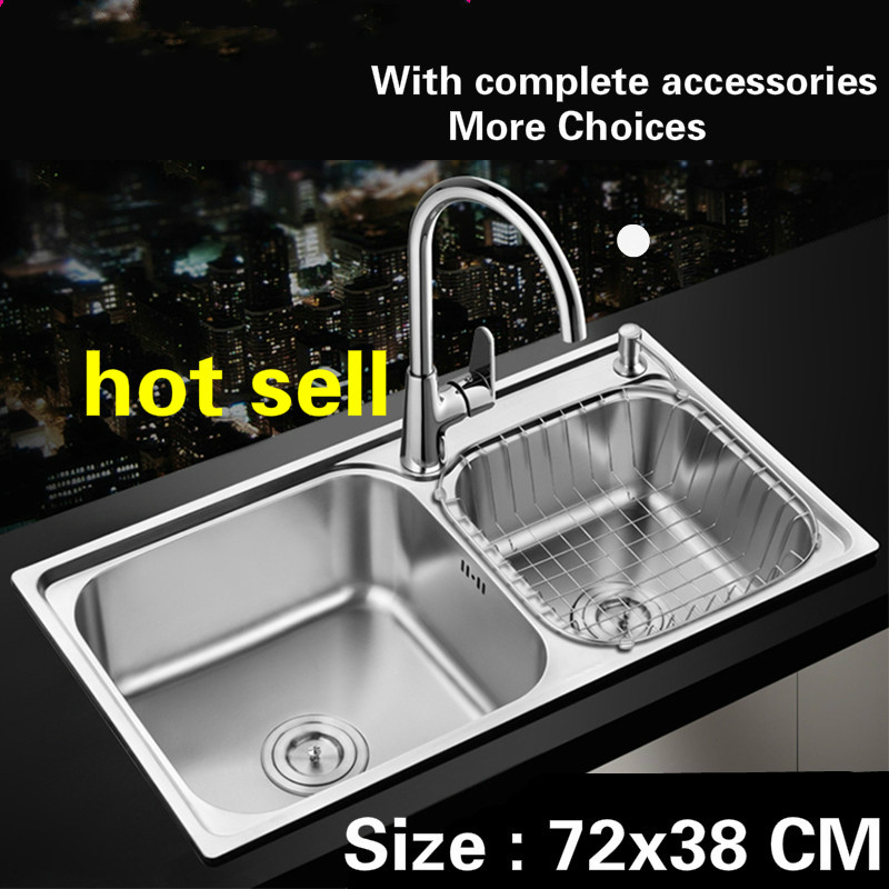 Free Shipping Kitchen Sink Food Grade 304 Stainless Steel Normal Double Groove Hot Sell 720x380 MM
