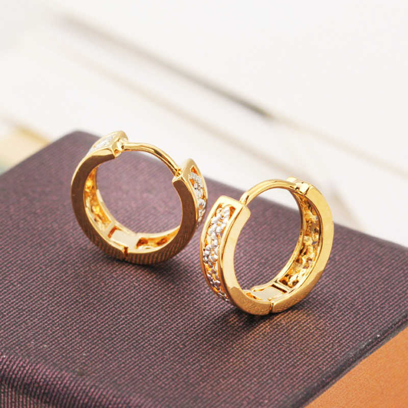 Vintage Creole Circle Hoop Earrings For Women Gold Color Paved CZ Party Earrings Fashion Jewelry Hoops 2018