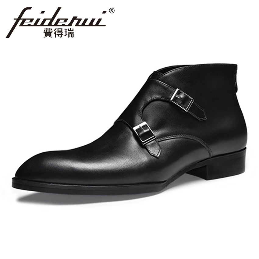 New Vintage Genuine Leather Handmade Men's Monk Straps Outdoor Ankle Boots Pointed Toe High-Top Man Cowboy Martin Shoes HQS252
