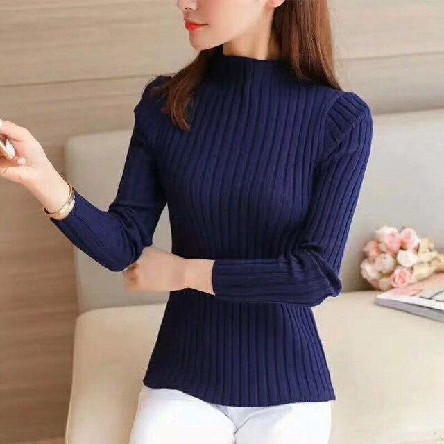 Women Pullover Sweater High Street Solid Elegant Slim Fit Top Long Sleeve Turtleneck Casual Black White Autumn Sweater Women