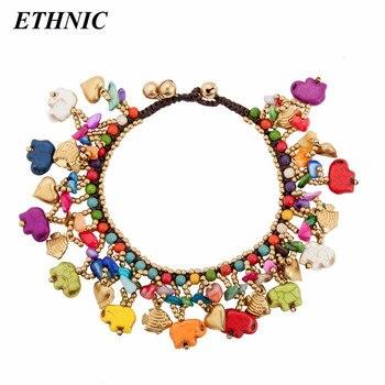 5ce4f6fc2482 Tobilleras con cuentas de elefante de colores bohemios de marca étnica para  mujer