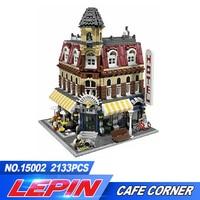 2017 New LEPIN 15002 2133Pcs Creators City Cafe Corner Model Building Kits Blocks Bricks Compatible Toys