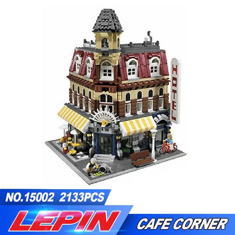DHL LEPIN 15002 2133 pz Creatori City Cafe Angolo Modello Corredi di Costruzione di Blocchi di Mattoni Compatibile legoed Giocattoli Per I Bambini 10182