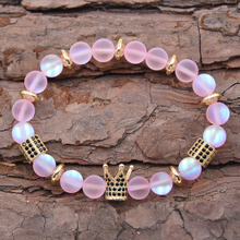 Trendy Couple bracelets Natural 8mm Beads Bracelet CZ Crown charm Bracelets For Women Men jewelry Pulseras