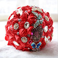 New Satin Bouquet Ramo De Flores Novia Crystal Bouquet Wedding Bruidsboeketten Bridal Bouquet With Crystal Brooch Bouquet 2017