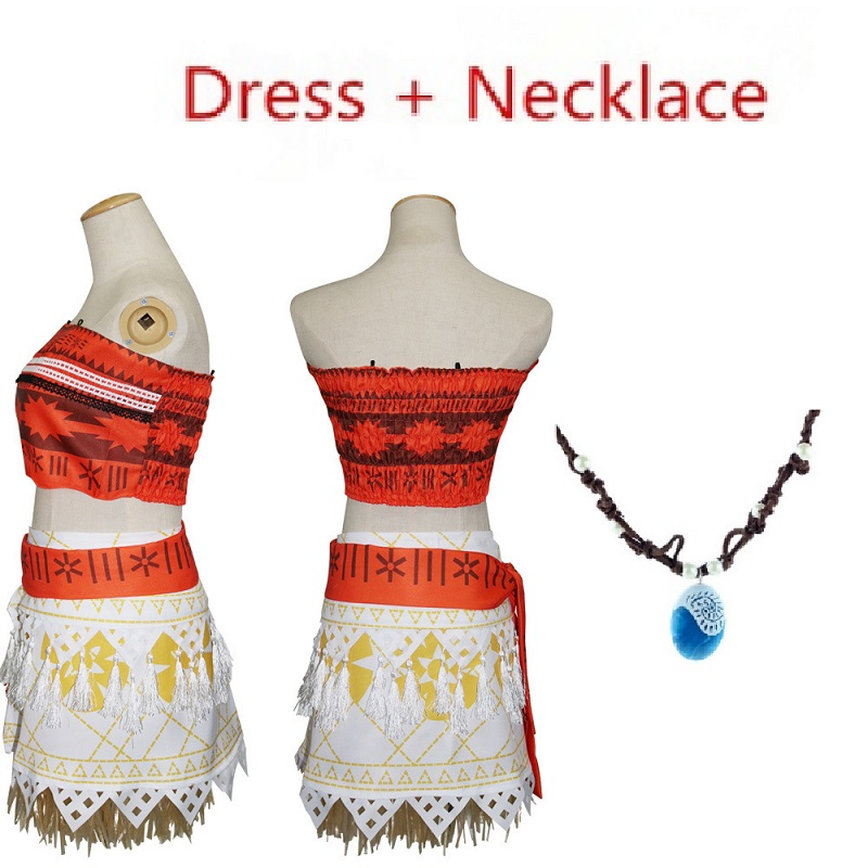 princess halloween costume for kids moana costume and necklace adult children girls women fantasia fancy girl dresses cosplay