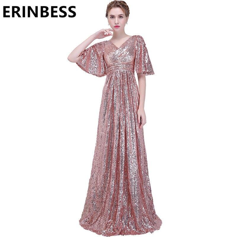 Bling Bling V Neck Pink Sequined Evening Dresses Short S;eeve Long Backless Prom Gowns 2019 Women Party Gowns Vestido De Festa