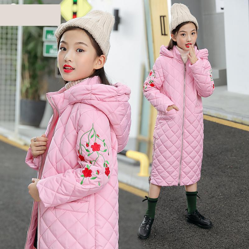 все цены на Girls Clothes Kids Winter Thickening Snow Cotton Down Coat Toddler Girls Embroidered Jacket Long Style Coat Girls Tops Outwear