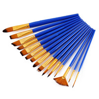 15Pieces Round Pointed Tip Hog And Nylon Hairs Blue Bar And Case Paint Brushes Art Set