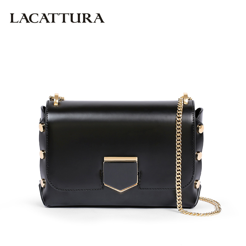 LACATTURA Women Shoulder Bags Designer Women Leather Handbag Luxury Chain Crossbody Bag Fashion Rivet Clutch High Quality lacattura small bag women messenger bags split leather handbag lady tassels chain shoulder bag crossbody for girls summer colors